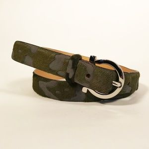 Ferragamo Green Fur Camo Belt